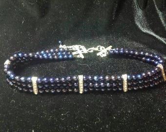 Dark Blue Glass Bead and Rhinestone Choker Necklace **FREE SHIPPING**
