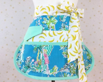 Lilly Pulitzer Jungle Glam Toile Sassy Teacher Half Apron, 6-8 Pockets, Misses, Plus Sizes, Vendors, Gardening, Utility, Teachers, Crafts