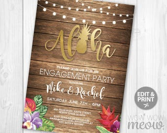Aloha Engagement Invitations Party Invite Couples Shower INSTANT DOWNLOAD Wood Rustic Gold Rehearsal Dinner Luau Tropical Editable Printable