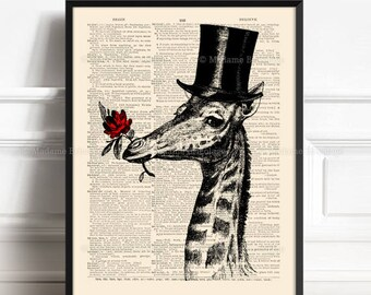 Flower Giraffe, Wedding Giraffes, Wife Birthday gift, Geek Giraffe , 8th Year Anniversary, 18th Birthday Gift, Nursery Wall Giraffe Cool 455