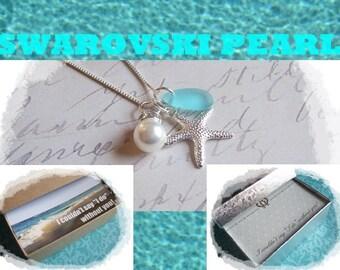 Set of 4 BRIDESMAID JEWELRY NECKLACES - Bridesmaid Jewelry Set of 4, Starfish Necklace, Beach Wedding, Bridesmaid Gift, Starfish Necklaces