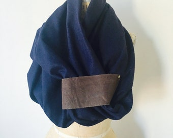 Scarf, Winter Sale, Wool Angora Scarf , Navy Blue wool,  Brown Leather