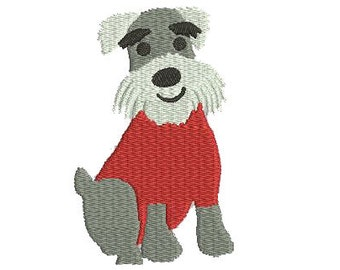 Schnauser Dog with Tee Shirt Embroidery Download