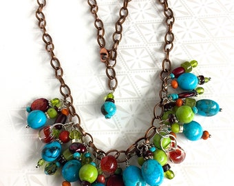 Boho Chic Turquoise Green Red Bangle Charm Necklace
