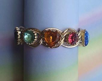 Vintage 60s Faceted Glass Hearts Chain Link Bracelet