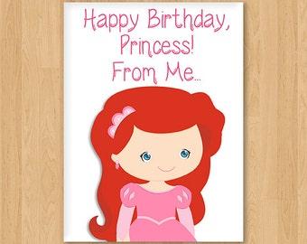 Little Mermaid Ariel Inspired Princess Birthday Card - Blank - Free shipping!