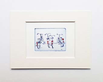 four bicycles, small original etching