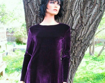 ELECTRIC PURPLE Gorgeous Grunge Goth Hipster Boho Velvet Dress Perfect for Prom Circa 1990s Never Worn