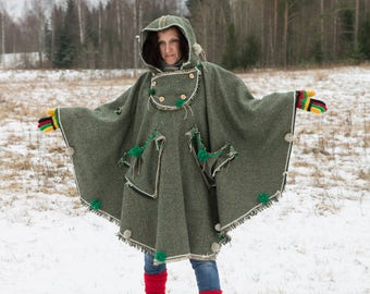 woman's cape, Women's Overalls, poncho, green cape, hooded capelet, cape with pockets , wool cape, hooded cape, winter cape, cape coat, warm