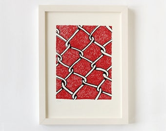 Original screen print poster wire fence, red