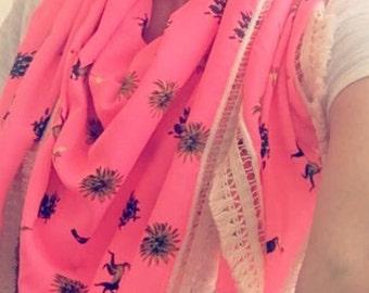 Tropical Triangular  Shawl Scarf Triangle Scarf Pink Lace Scarf Shawl Fashion Women