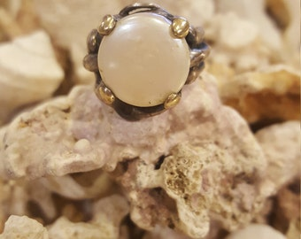 Two tone 10k gold and sterling silver coins pearl ring