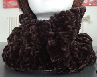 Snood, scarf, chocolate brown wool chenille, velvety, warmth and softness