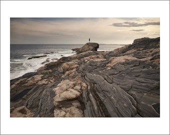 Rocky Shore of Pemaquid Point at Sunset - Maine - Color Photo Print - Fine Art Photography (PQ01)