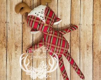Christmas Plaid Stuffed Reindeer