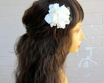 Gardenia, Mini Double Ivory Gardenia Hair Clip, Bridal Gardenia, Pinup Gardenia