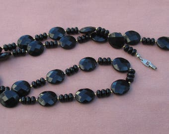 Vintage Black Plastic Beaded Long Necklace