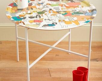 60 cm Large Round Dog Tray Table