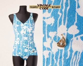 60s 70s White Blue One piece  swimsuit swimwear / West Germany Solar swimsuit with Open Back  / Vintage Bathing Suit /   size small
