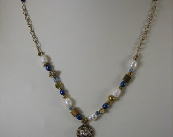 Edith Blue and Gold Necklace