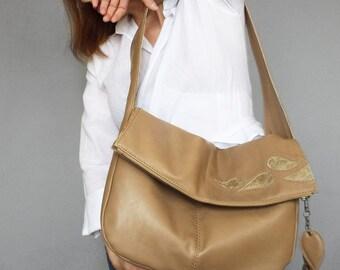Beige leather hobo bag. Foldover beige bag. Leather slouchy shoulder purse. Applique leather hobo bag.