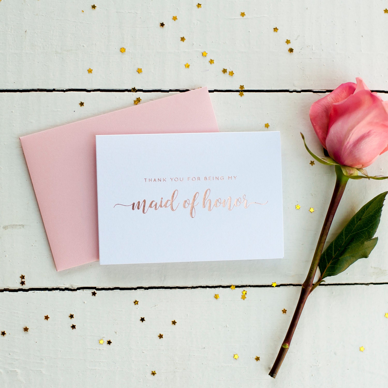 Rose Gold Foil Thank You For Being My Maid of Honor card bridal ...