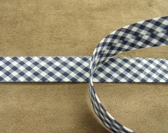Ribbon bias gingham - 20 mm / inside - 10 / 10 mm - blue