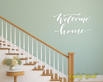 Welcome Home - Life Family Wall decal quote - Home Decor - Living Room Wall Sticker - Farmhouse Welcome - Front Door Decals -