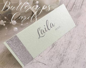 Glitter Wedding Table Place Cards modern calligraphy Name Places Mint Name Place Cards modern place cards weddings