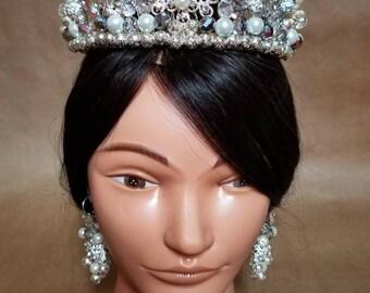 Tiara  crown bridal crown  bead rhinestones crown bridal wedding crown bridal earrings set pearl bridal princess crown bridal rhinestones