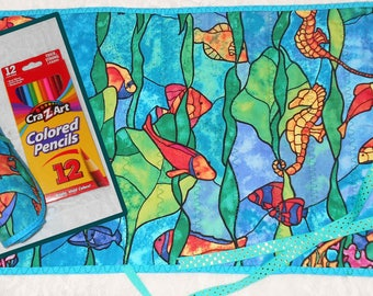 STAINED GLASS Fabric Rolled PENCIL Holder Bright Colorful Comes with Box of 12 CraZArt Colored Pencils One of a Kind Fish Tropical