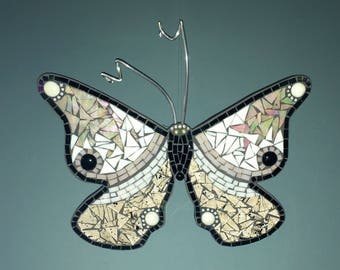 Mosaic butterfly made with stained glass in black and white to hang on your wall.FREE SHIPPING