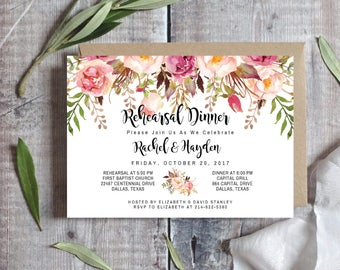 PRINTABLE Wedding Rehearsal Dinner Invitation Template / Editable - Pink / Blush / Marsala / Rose / Burgundy Floral / Wedding Dinner