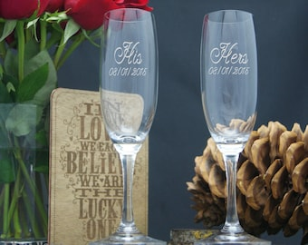 His and Hers Glasses, Personalized Champagne Flutes, Engraved Glasses, Custom Etched Wedding Glasses, Etched, Set of 2 Toasting Glasses