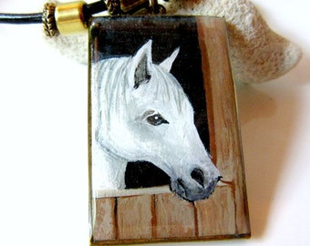 White Horse Pendant, White Horse Necklace, Hand Painted Horse Jewelry, Western Horse Necklace, Horse Portrait, Cowgirl Boot