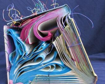 Altered Book Art Sculpture-Primary