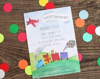baby shower invites, unisex gender neutral baby shower, trains & planes - 10 invites