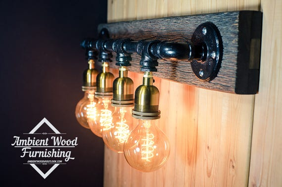 Pipe Barn Wood Industrial Bathroom Vanity Light Fixture Bar