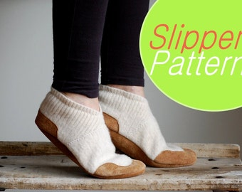 Slippers Sewing Pattern, Women & Men sizes, PDF Instant Download Tutorial, Women sizes 6.5, 8, 9.5, Men sizes 10, 11.5, 13