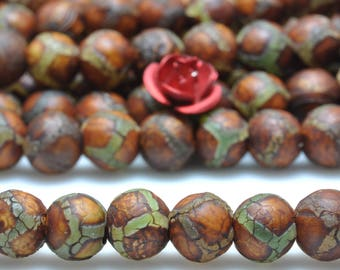 62 pcs of Retro Tibetan Agate turtleback matte round beads in 6mm
