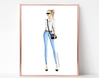City Chic II | fashion illustration print, art print, sketch, croquis, street style