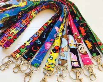 Lanyard, Fabric Lanyard, ID Badge Holder, Key Holder - Choose your design [45-53]
