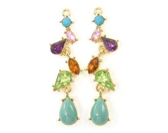 Colorful Earring Findings Long Rhinestone Drop Earrings Multicolor Gold Dangle Special Occassion Bridesmaid Jewelry Component |B3-3|2M