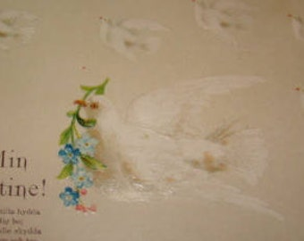 Lovely Highly Embossed German Valentine Postcard (Doves)