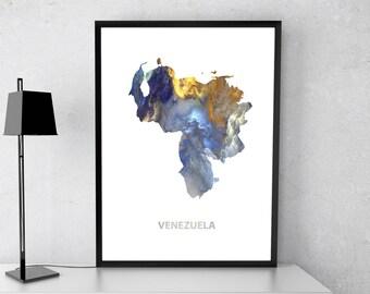 Venezuela poster, Venezuela art, Venezuela map, Venezuela print, Gift print, Poster