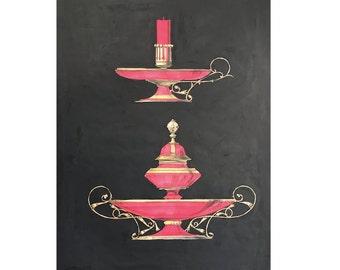 1866 ANTIQUE RED VASES & bottles lithograph rare unusual original antique hand colored print