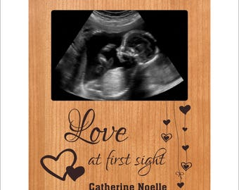 "Personalized Baby Frame, Custom Ultrasound Photo Frame, ""Love at First Sight"", Baby Gift, Baby Shower Gift, Baby 4 x 6 Frame"