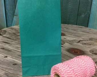 Set of 100 - Solid Teal Flat Bottom Paper Merchandise or Lunch Bags - 4.25 x 2.375 x 8.18 Inches - Gifts, Packaging, Retail