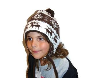Kids Winter Hat Peruvian Hat Warm Kids Hat Fleece Hat Skiing Hat Animal Hat Reindeer Snowflakes Winter Holidays Snow Holidays made in France
