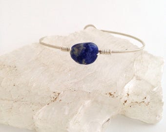 Sodalite Bangle/Cuff - Sterling Silver Bracelet, Forged Metal, Hammered, Wire Wrapped